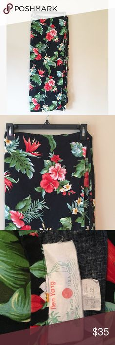 """Vintage Hawaiian Tropical Floral Print Wrap Skirt This vintage treasure was made in Hawaii  Birds of Paradise, Hibiscus, and plumeria flowers all over. 100% cotton. One Size, 36"""" long.   Ships from Hawaii  No trades  Reasonable offers welcome  Vintage Skirts"""