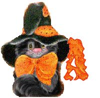 Oh my Alfabetos!: Alfabeto tintineante de gato negro con gorro de bruja.