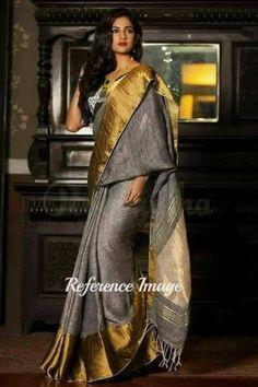 Linen 100 count gray with golden zari border pure organic handwoven saree