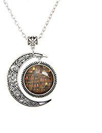 Products for Book Lovers > Moon Necklace Fashion Vintage Library and Books Pendant Necklace Book Lover — Content Mo ~ Mo' Content for You! ~ A Reader Lair FREE KINDLE BOOKS