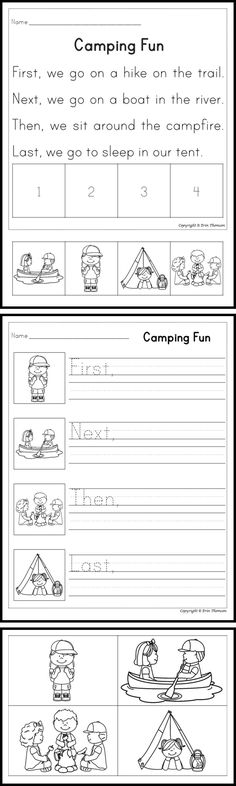 Stories ~ Camping Students will sequence the camping stories using the words first, next, then, and last. There are three activities included with each sequencing story for differentiation.Activity Activity may refer to: 1st Grade Writing, First Grade Reading, Teaching Writing, Reading Activities, Guided Reading, Classroom Activities, Sequencing Activities, Reading Skills, Preschool Ideas