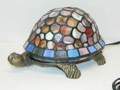 Turtle Lamp Light Tiffany Style Leaded Glass Lighted Turtle