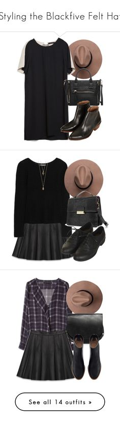 """""""Styling the Blackfive Felt Hat"""" by laurenmboot ❤ liked on Polyvore featuring Zara, MANGO, Topshop, Yves Saint Laurent, Kain, Dune, Violeta by Mango, Whistles, H&M and Love 21"""