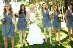 modern bridal party #wedding #gray #grey #bridesmaids #dresses