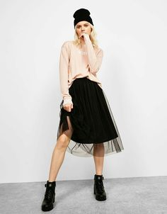 Print top with text detail on sleeves - T-Shirts - Bershka United Kingdom High Street Fashion, Street Style, Midi Skirt, Tulle, Detail, Skirts, Sleeves, Outfits, Clothes