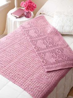 Hearts & Flowers Filet Afghan