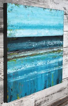 FREE SHIP large abstract painting of ocean, teal and turquoise blue, stretched…