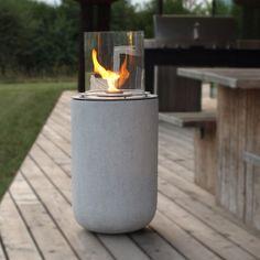muenkel design Boston - Ethanol Feuerstelle: Beton-Optik - Large - Borosilikatglas