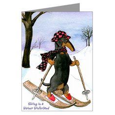 Новогодние открытки с таксами от Терри Понд | Короткие Истории Длинной Таксы