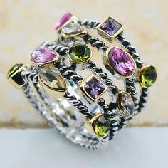 Peridot Różowy Symulowane Sapphire Amethyst Morganite 925 Sterling Silver Biżuteria wedding Ring Rozmiar 6 7 8 9 10 F1132