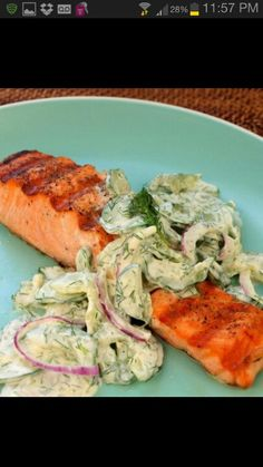 Cucumber Dill Salad. Recipe: Grilled Salmon with Creamy Cucumber-Dill ...