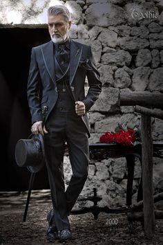 Italian black gothic wedding groom suit with rhinestone. Suit ONGala 2000