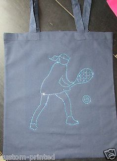 #Diamante crystal tennis #player cotton tote bag club bling #shopping pe gym book,  View more on the LINK: 	http://www.zeppy.io/product/gb/2/311628734645/