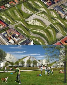 New Heden in Gothenburg Sweden. Buildings that you can ride your bike on and a park all at the same time.