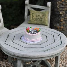 Miniature Fairy Garden Happy Birthday Cake