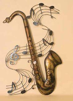Saxophone Music Score Metal Wall Art