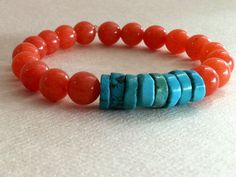 Round Orange Dyed Jade Stones with Turquoise by ChristinesBaubles, $29.00