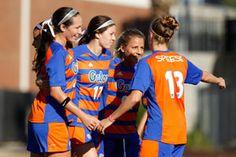 Lady Gators Soccer celebrates Erika Tymrak's team leading ninth goal as Florida defeated FGCU 2-0 Friday in NCAA play.