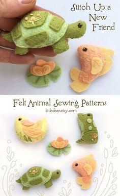 Sew a set of sweet Pond Creatures with this easy felt pattern from little dear. Felt Crafts Diy, Felt Diy, Fabric Crafts, Fun Crafts, Crafts For Kids, Animal Sewing Patterns, Felt Patterns, Craft Patterns, Sewing Toys
