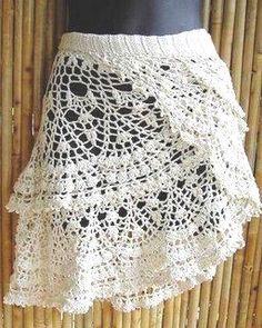 Crochet Patterns Wear Gehäkelter Rock/ gehaakte rok/ la falda/ jupe w/ charts Mode Crochet, Crochet Art, Crochet Woman, Crochet Crafts, Irish Crochet, Beach Crochet, Vintage Crochet, Crochet Ruffle, Crochet Tunic