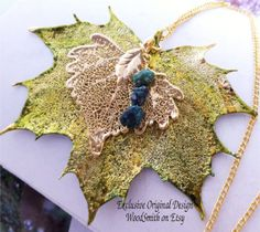 Real Leaves Jewelry, Eco Necklace, Autumn Green Maple,gold Cottonwood, Turquoise, one-of-a-kind design