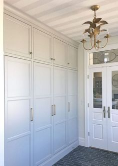 Mudroom cabinetry that functions as lockers but looks so much better! Mudroom cabinetry that functions as lockers but looks so much better! Mudroom Laundry Room, Mudroom Cabinets, Mud Room Lockers, Built In Lockers, Mud Room Garage, Wall Storage Cabinets, Tall Cabinets, Cupboards, Kitchen Cabinets