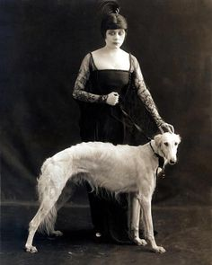 Theda Bara with her Russian wolfhound
