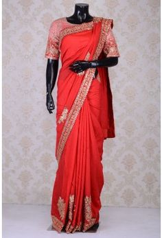 Pure Saree with Readymade Blouse-Red-Sequins Work-WI3856 #saree #silksaree #designersaree #embroideredsaree #chiffon #georgette #banarasi #kanchipuram #tussar #rawsilk #mirrorwork #zari #purezari #wedding #printed #cotton   Saree blouse  #sareeblouse #designer #embroidered #customise #rawsilk #puresilk #embroidered #zardosi #gota #resham #beads #sequins #cutdana #mirror #padded #blousestitching #brocade #illusionneck #blouse #simple