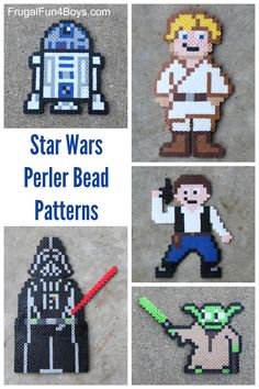 Six Star Wars perler bead projects to make, with patterns for each one.