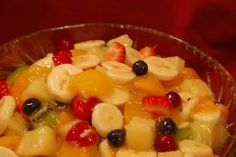I had a fruit salad I've never had before today at Thanksgiving dinner and it was delicious.  Growing up we always made fruit salad with various canned fruits and cool whip.  This had a great glaze...