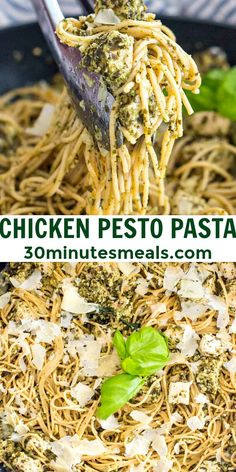 Chicken Pesto Pasta is a quick and easy dinner idea. Creamy homemade pesto sauce, garlic and juicy sauteed chicken breasts are served on a bed of spaghetti. #chickenrecipes #easyrecipe #pastarecipes #30minutemeals #bestrecipes
