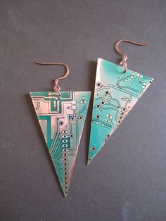 Inverted Pyramids Earrings made from recycled RoHS electronic circuit boards by UpcycledJewelry - $35
