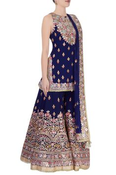 Buy Royal blue kurta sharara set by Tamanna Punjabi Kapoor at Aza Fashions Sharara Designs, Kurti Designs Party Wear, Lehenga Designs, Indian Gowns, Indian Attire, Indian Wear, Designer Punjabi Suits, Indian Designer Outfits, Pakistani Outfits
