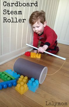 Cardboard Crafts - Easy Steam Roller Construction Vehicle Toy that really rolls! Click through for the easy tutorial and other cardboard craft ideas!