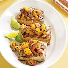 Grilling the peaches caramelizes their natural sugar. Serve with grilled pork, fish—like striped bass—or chicken. Refrigerate for up to three days.This recipe goes with Grilled Striped Bass, Grilled Chicken Breast, Roasted Pork Tende...