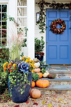 Bring a seasonal splash of color to your entryway by mixing and matching eye-popping blooms with rustic grasses and foliage in your fall container gardens. Mum Planters, Outdoor Planters, Garden Planters, Planter Ideas, Planter Boxes, Outdoor Decor, Fall Flower Pots, Fall Flowers, Container Plants