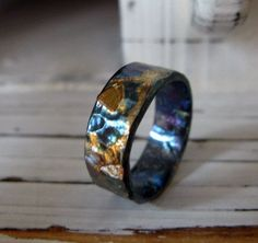 Black Gold Ring Man Wedding Band Oxidized Fine Silver and by HotRoxCustomJewelry - Masculine with a little pizazz. This is a solid hand fabricated FINE silver ring that has been hammered, treated with Mens Silver Wedding Bands, Custom Wedding Rings, Wedding Men, Viking Wedding, Wedding Gold, Rustic Wedding, Wedding Dress, Jewelry Rings, Silver Jewelry