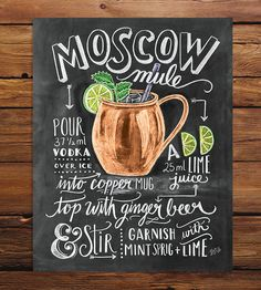 This chalkboard art print isn't just adorable—it's instructional too. All the fixings for the drink served in a signature copper mug, the Moscow Mule, are illustrated in chalk, the dusty stuff used to color and shade each element and letter in the piece. The original chalk drawing lists the ingredients and how to prepare them to make the perfect Moscow Mule, complete with a mint sprig for garnish. Professionally photographed and printed on archival quality paper.