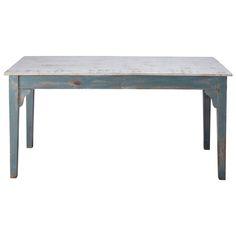 Mesa de comedor de mango azul grisáceo efecto envejecido An. 160 cm Avignon