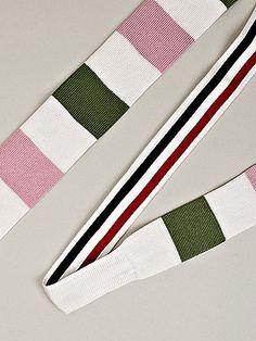 Fancy - Thom Browne Men's Long Flat Knit Tie in pink / white / green at oki-ni