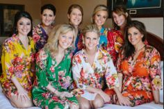 Set+of+8+Floral+Kimono+Crossover+patterned+Robe+by+JustCottons,+$200.00