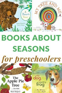 Preschool books about seasons showcase fall winter spring and summer from weather changes to animal adaptations. The best of the best titles to share. Best Toddler Books, Best Children Books, Childrens Books, Seasons Activities, Book Activities, Preschool Activities, Preschool Seasons, Preschool Pictures, Spring Books