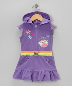 Take a look at this Purple 'Be Happy' Ruffle Romper - Infant, Toddler & Girls by 2B Real on #zulily today!