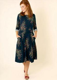 6fe71227be69 Dark Blue floral midi dress Modest Dresses For Women, Modest Wear, Prom  Dresses,