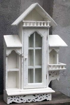 Victorian Gingerbread Milk Paint Medicine Curio Cabinet Spindle Steeple Terrace