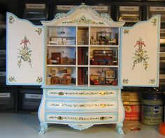 darling dollhouse cupboard-Ashlee-this could work on cupboard in play room downstairs! Cute idea!