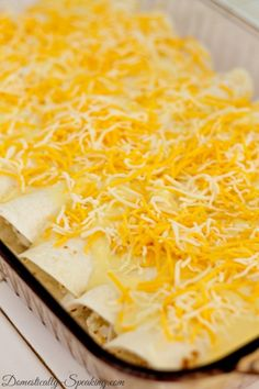 A family favorite - creamy white chicken enchiladas!