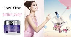 Sign up and receive email updates, sample offers and members only specials from Lancome.  You can receive 15% off by using the code  ELITE15.  There is also free shipping on order over $49.00 and you can enjoy complimentary shipping and one travel size sample of your choice with any order $49 and above.  Not bad, especially if you already love these products! http://ifreesamples.com/save-15-favorite-lancome-beauty-products/