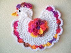 Crochet Chicken Rooster Bird Rainbow Pot Holder Potholder Hot Pad Kitchen Decor Housewarming Gift