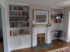 by exeter based carpenter specialising in alcove units and built in storage Alcove Ideas Living Room, Built In Shelves Living Room, Desk In Living Room, Built In Desk, Living Room Decor, Room Ideas, Dining Room Playroom Combo, Decor Ideas, Alcove Desk
